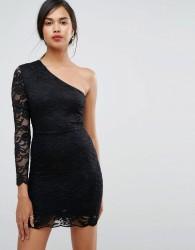 Ivyrevel One Shoulder Lace Bodycon Mini Dress - Black