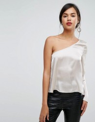 Ivyrevel One Sleeved Satin Top - Beige