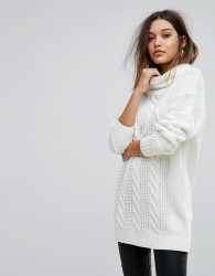 Ivyrevel Oversized Cable Knit Jumper With High Neck - White