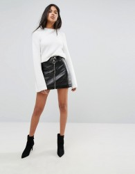Ivyrevel Pu Mini Skirt With Zip Front - Black
