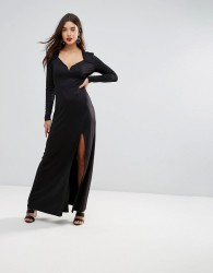 Ivyrevel Sweetheart Maxi Dress With Slit Front - Black
