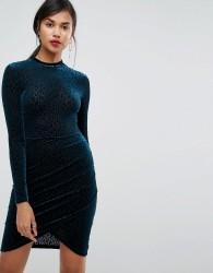 Ivyrevel Velvet Dress With Cross Over Detail - Green