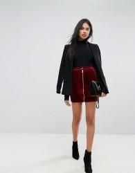 Ivyrevel Velvet Mini Skirt With Zip Front - Red
