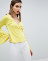 Ivyrevel Wrap Front Jersey Top with Bell Sleeve - Yellow