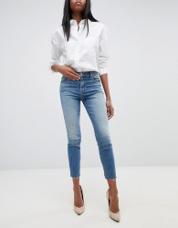 J Brand Alana High Rise Crop Skinny Jeans With Raw Hem - Blue
