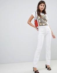 J Brand Amelia Mid Rise Straight Cut Jeans - White