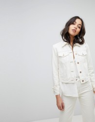 J Brand Denim Trucker Jacket With Turnback Raw Cuff - White