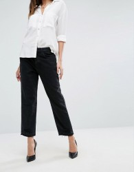 J Brand High Rise Crop Straight Jean with Raw Hem and Abrasions - Black