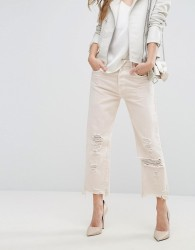 J Brand Ivy High Rise Crop Straight Jean with Raw Hem - Pink