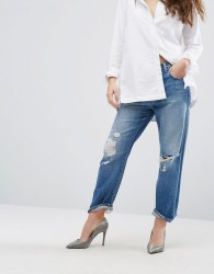 J Brand Ivy High Rise Cropped Boyfriend Jeans With Abrasions - Blue