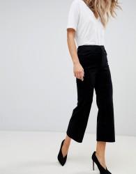 J Brand joan high rise courdroy cropped wide leg jean - Black