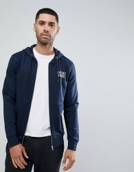 Jack and Jones Chest Logo Zip Though Hoodie - Navy