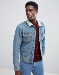 Jack & Jones Borg Collar Denim Jacket - Blue