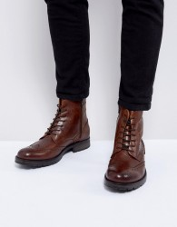 Jack & Jones Brogue Leather Boots - Black