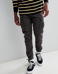 Jack & Jones cargo trouser in slim fit with drawstring ankle - Grey