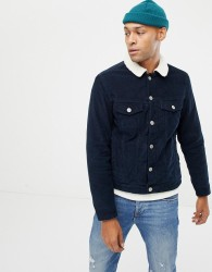 Jack & Jones cord jacket with teddy collar - Navy