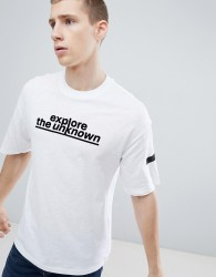 Jack & Jones Core Drop Shoulder T-Shirt With Slogan - White