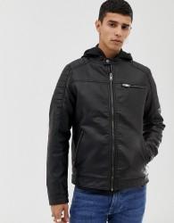 Jack & Jones Core faux leather racer jacket - Black