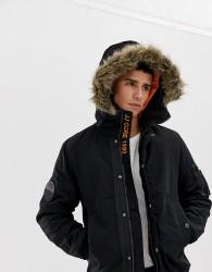 Jack & Jones Core hooded bomber jacket with faux fur hood - Black