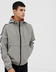 Jack & Jones Core Hooded Jacket With Side Taping - Grey