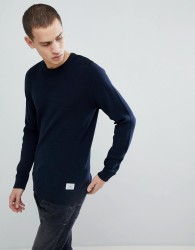 Jack & Jones Core Knitted Jumper With Button Shoulder - Navy