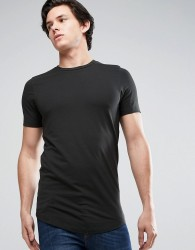 Jack & Jones Core Longline Muscle Fit T-Shirt - Black