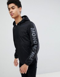 Jack & Jones Core Over Head Jacket With Sleeve Branding - Black