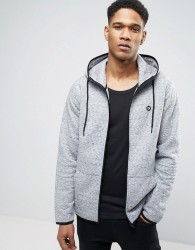 Jack & Jones Core Zip Hoodie with Quilted Stich Detail - Grey