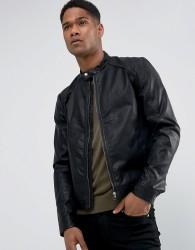 Jack & Jones Faux Leather Biker Jacket - Black