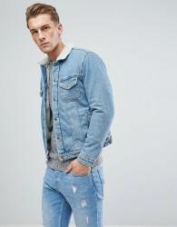 Jack & Jones Intelligence Denim Jacket With Full Borg Lining - Blue