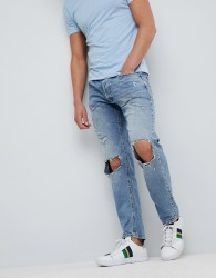 Jack & Jones Intelligence Jeans In Comfort Fit With Open Rip Details - Blue