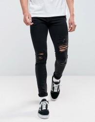 Jack & Jones Intelligence Jeans In Skinny Fit Ripped Black Denim - Black