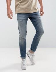 Jack & Jones Intelligence Jeans In Slim Fit With Open Rips - Blue