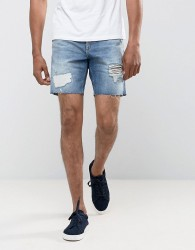 Jack & Jones Intelligence Regular Fit Denim Short With Rip Repair - Blue