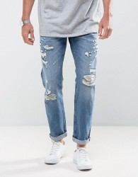Jack & Jones Intelligence Tapered Fit Jeans with Distress Detail - Blue