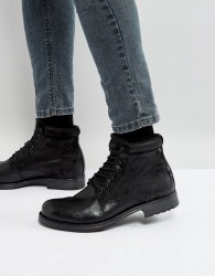 Jack & Jones Justin Leather Mix Lace Up Boots - Black