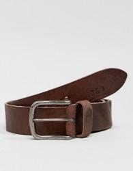 Jack & Jones Leather Belt With Vintage Buckle - Brown