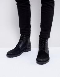 Jack & Jones Leather Boots - Black