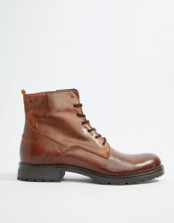 Jack & Jones leather lace up boots - Brown