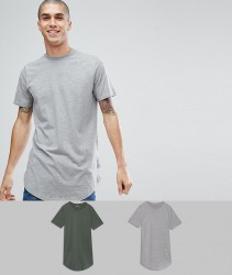 Jack & Jones Originals 2 Pack Longline T-Shirt SAVE - Multi