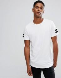 Jack & Jones Originals Longline T-Shirt With Curved Hem And Arm Stripes - White