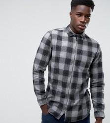 Jack & Jones Originals Overshirt in Regular Fit Check with Zip Through - Grey
