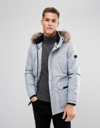 Jack & Jones Parka with Faux Fur Hood - Grey