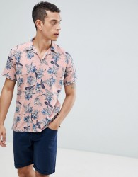 Jack & Jones Premium Revere Collar Short Sleeve Shirt With Floral Print - Pink