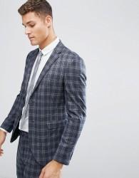 Jack & Jones Premium Slim Suit Jacket In Wide Check - Navy