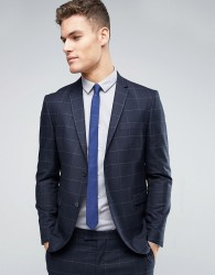 Jack & Jones Premium Slim Suit Jacket with Check - Navy