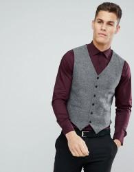 Jack & Jones Premium Slim Tweed Waistcoat - Grey