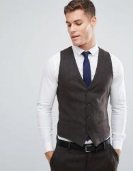 Jack & Jones Premium Slim Waistcoat In Herringbone Tweed - Brown
