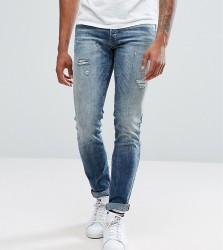 Jack & Jones TALL Intelligence Jeans In Slim Fit With Open Rips - Blue