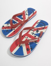 Jack & Jones Union Jack Flip Flops - Red